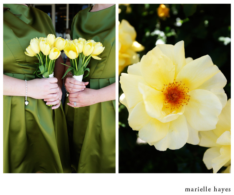 The gorgeous yellow tulip bouquets for the bridesmaids were perfection